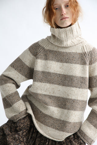 Ichi Sweater in Natural/Mocha Stripe on model view front