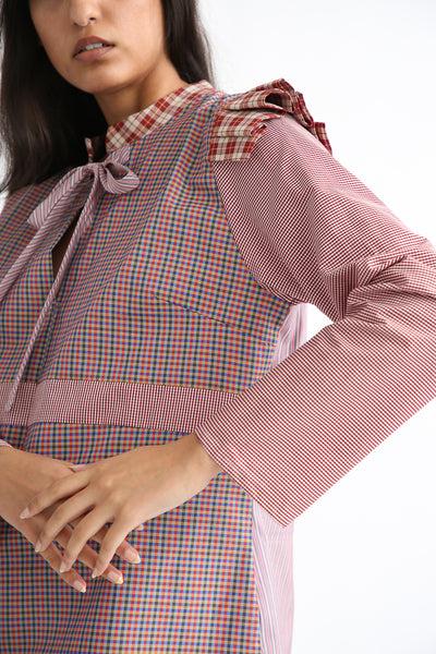 Bettina Bakdal Anni Cotton Shirt in Red Plaid sleeve
