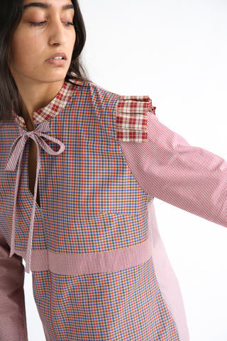 Bettina Bakdal Anni Cotton Shirt in Red Plaid contrast fabric panel design
