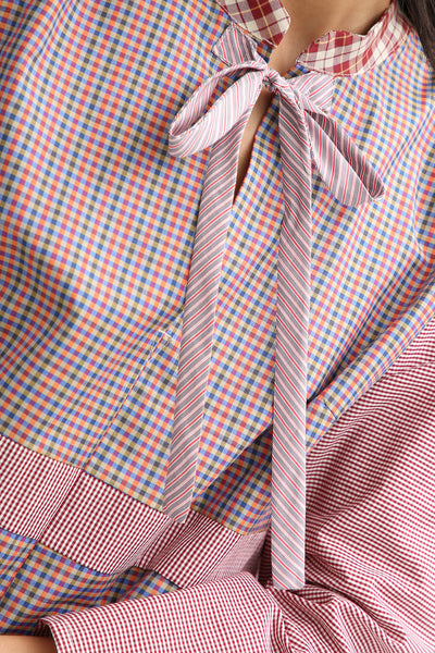 Bettina Bakdal Anni Cotton Shirt in Red Plaid tie detail
