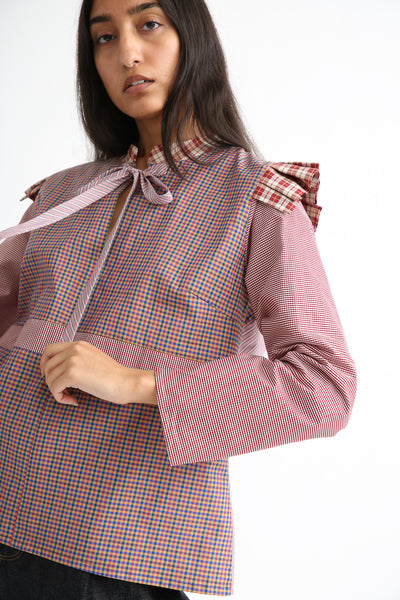 Bettina Bakdal Anni Cotton Shirt in Red Plaid front