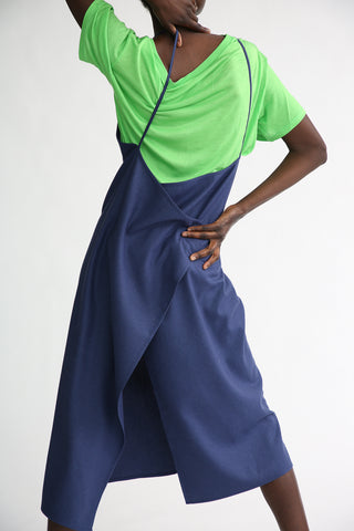 Baserange Yumi Apron Dress - Silk in Bari Blue back