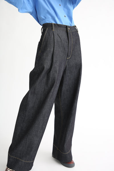 Studio Nicholson Seymour Trouser - Selvedge Denim in Indigo front pleat detail
