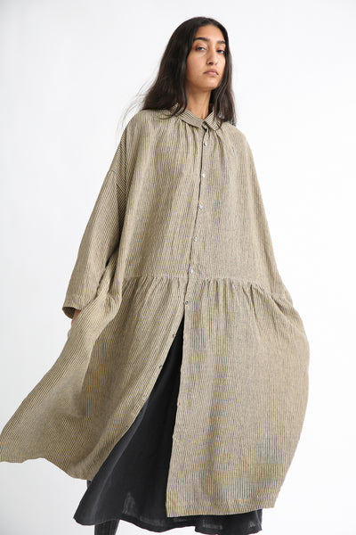 Ichi Antiquites Dress - Linen in Beige Stripe front