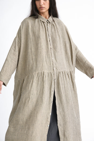 Ichi Antiquites Dress - Linen in Beige Stripe button front detail