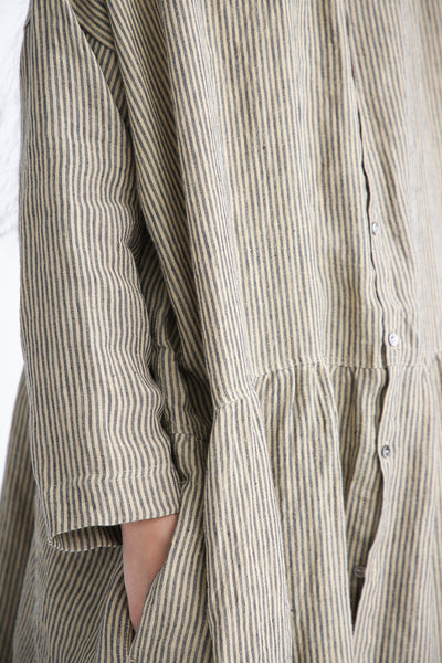 Ichi Antiquites Dress - Linen in Beige Stripe pocket