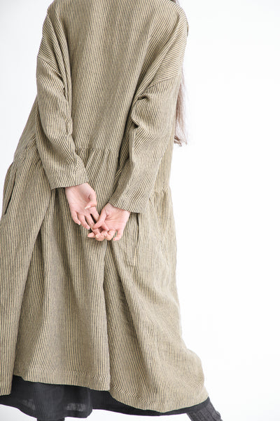 Ichi Antiquites Dress - Linen in Beige Stripe back