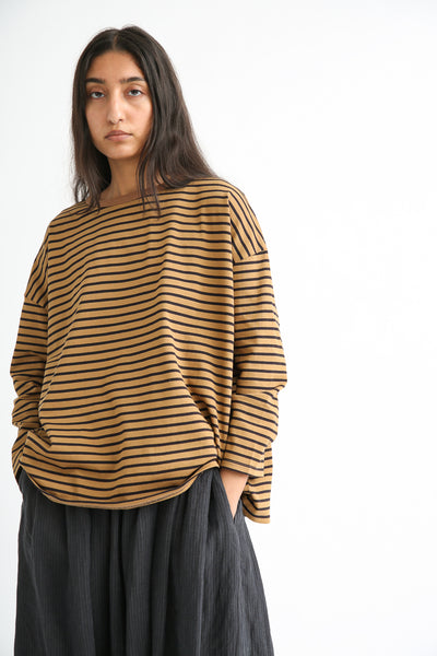 Ichi Antiquites Wide Pullover - Cotton in Mocha/Black front