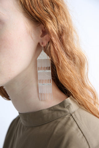 Hannah Keefe Rain Earrings in Silver on model view