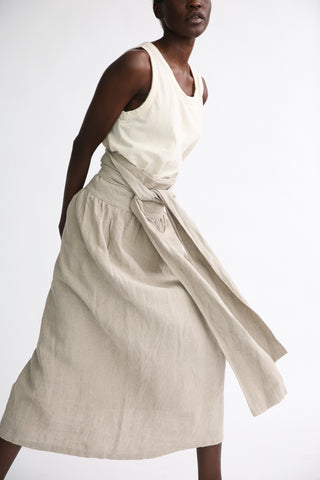 Ichi Antiquites Skirt - Linen in Natural on model view front