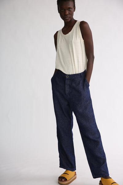 Ichi Antiquites Pants - Linen in Navy on model view front