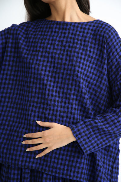 Ichi Antiquites Pullover - Cotton/Wool in Royal Blue/Black gingham detail
