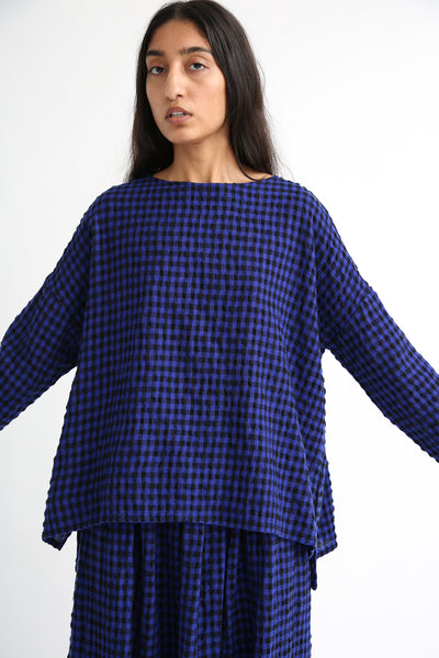 Ichi Antiquites Pullover - Cotton/Wool in Royal Blue/Black front