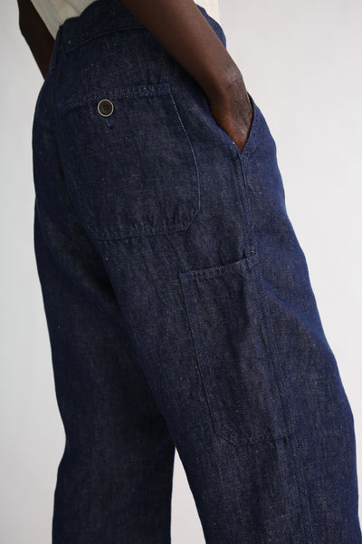 Ichi Antiquites Pants - Linen in Navy back and side leg pocket detail