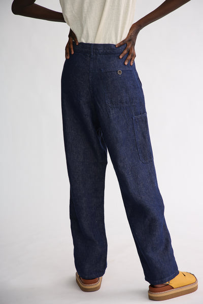 Ichi Antiquites Pants - Linen in Navy back