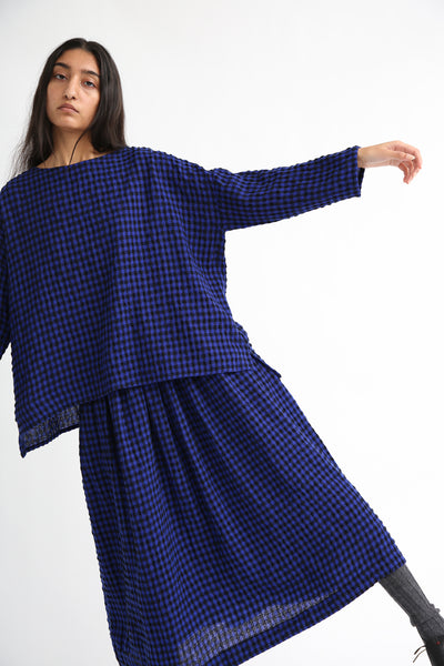 Ichi Antiquites Skirt - Cotton/Wool in Royal Blue/Black on model view front