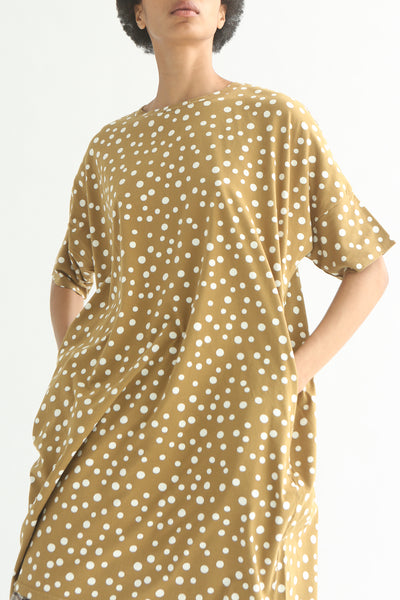 Ichi Top - Cotton in Beige Polka Dot front