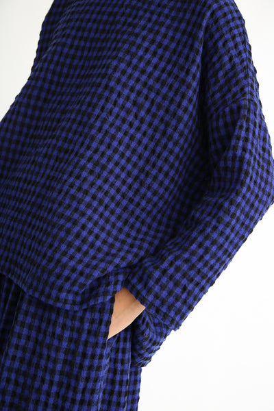 Ichi Antiquites Pullover - Cotton/Wool in Royal Blue/Black sleeve
