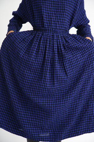 Ichi Antiquites Skirt - Cotton/Wool in Royal Blue/Black front