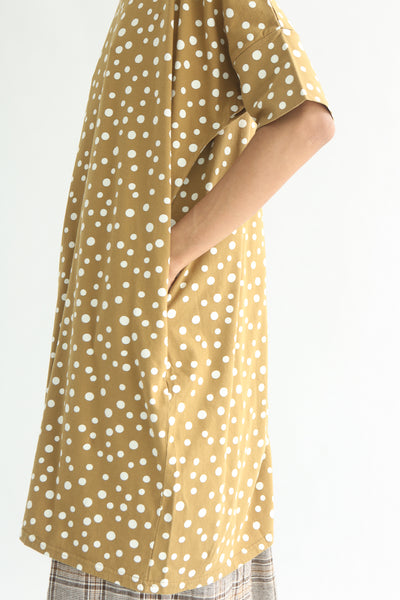 Ichi Top - Cotton in Beige Polka Dot side seam pocket
