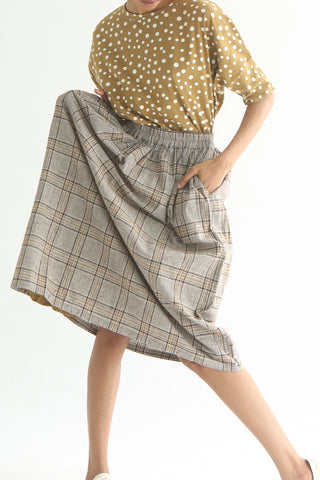 Ichi Skirt - Cotton/Linen in Beige/Brown Check front