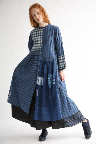 Injiri Cotton Dress in Indigo Multi on model view front