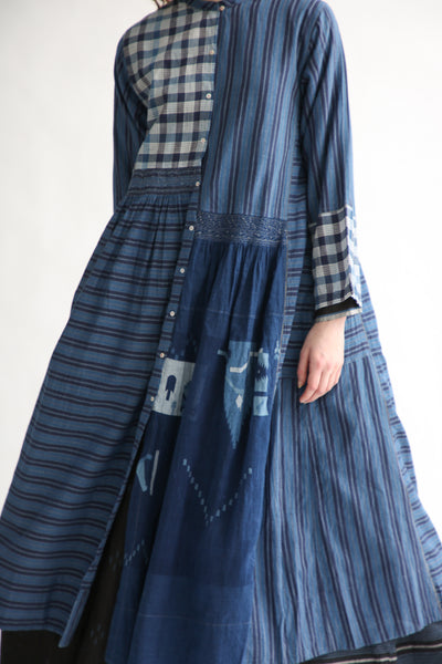 Injiri Cotton Dress in Indigo Multi front detail