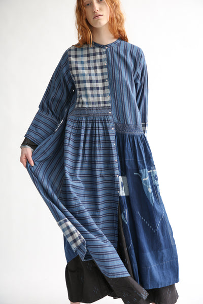 Injiri Cotton Dress in Indigo Multi front