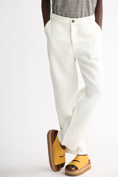 Ichi Antiquites Pants - Linen in White front