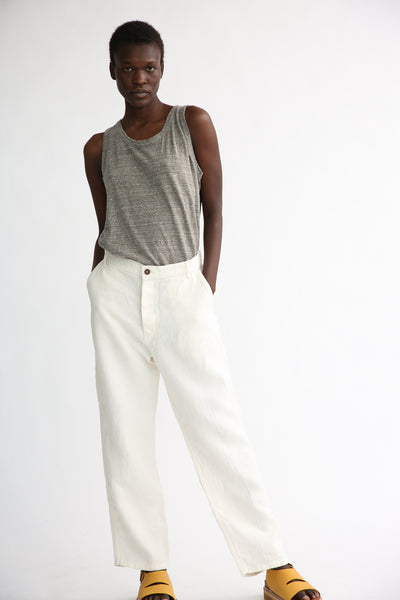 Ichi Antiquites Pants - Linen in White on model view front