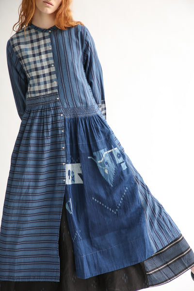 Injiri Cotton Dress in Indigo Multi skirt view