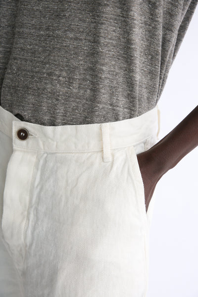 Ichi Antiquites Pants - Linen in White front waist and pocket