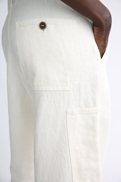 Ichi Antiquites Pants - Linen in White back pocket detail