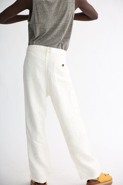 Ichi Antiquites Pants - Linen in White back