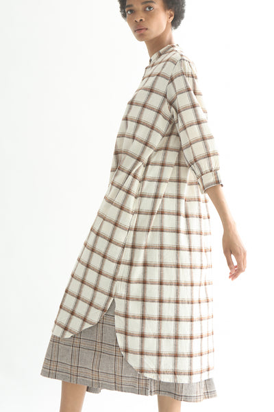 Ichi Top - Cotton/Linen in White/Brown Check side