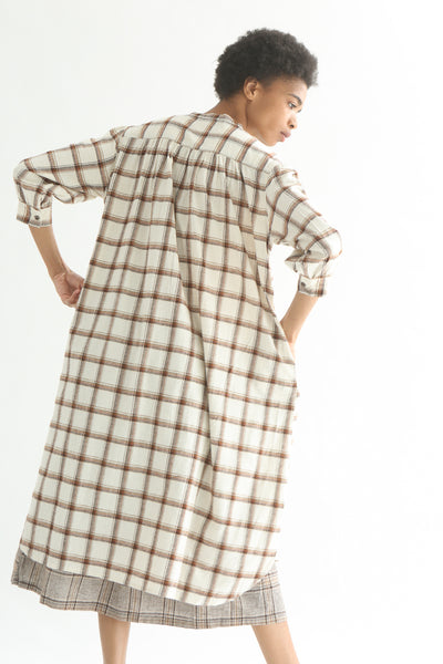 Ichi Top - Cotton/Linen in White/Brown Check back