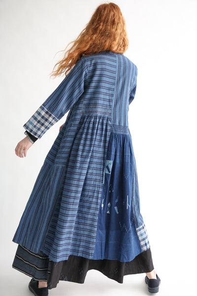 Injiri Cotton Dress in Indigo Multi back