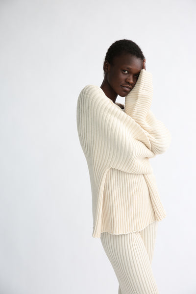 Baserange Kai Sweater - Organic Cotton in Ecru side