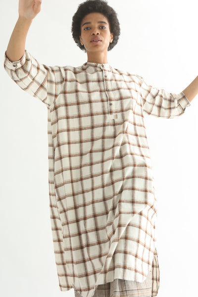 Ichi Top - Cotton/Linen in White/Brown Check front