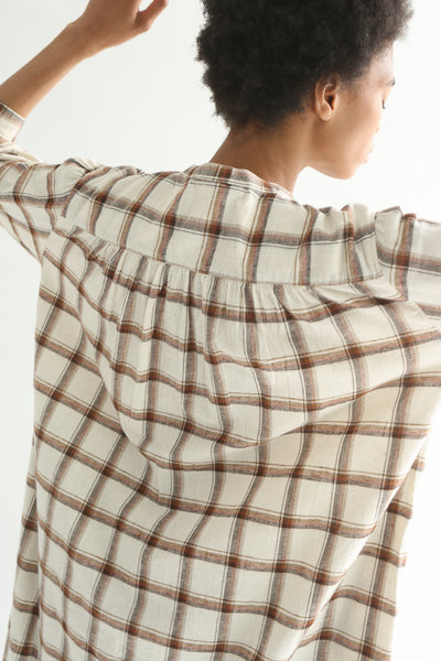 Ichi Top - Cotton/Linen in White/Brown Check back yoke