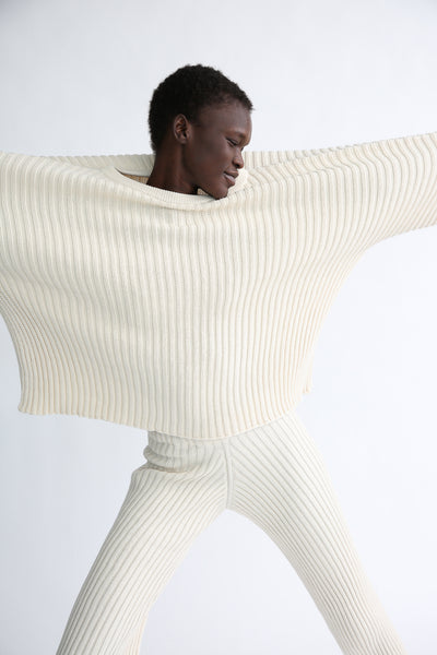 Baserange Kai Sweater - Organic Cotton in Ecru front