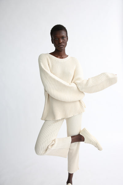 Baserange Kai Sweater - Organic Cotton in Ecru on model view front