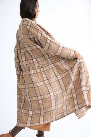Ichi Antiquites Dress - Linen in Beige Tartan Check side