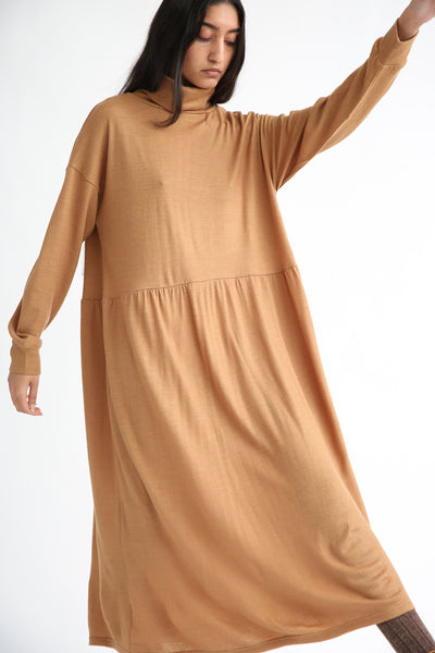 Ichi Antiquites Dress - Wool in Camel front