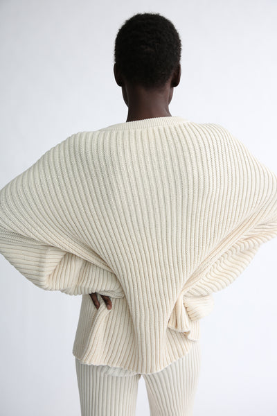 Baserange Kai Sweater - Organic Cotton in Ecru back