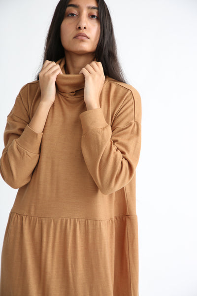 Ichi Antiquites Dress - Wool in Camel sleeve detail