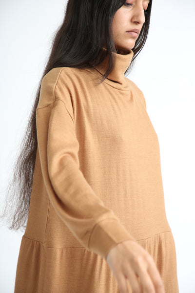 Ichi Antiquites Dress - Wool in Camel side view