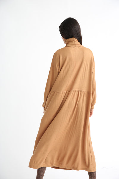 Ichi Antiquites Dress - Wool in Camel back