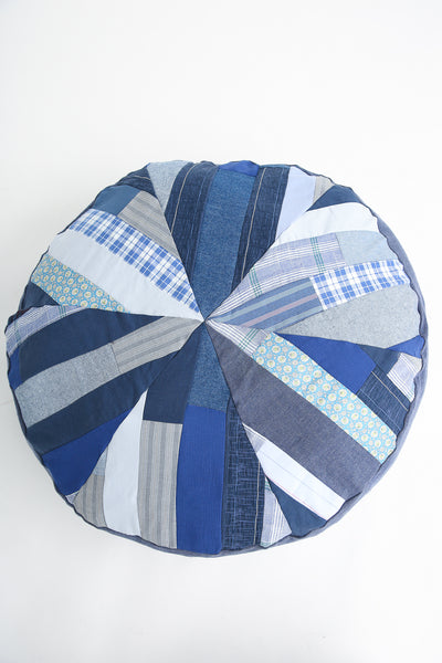 La Reunion Patchwork Pouf in Blue