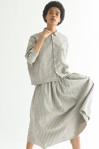 Ichi Skirt - Cotton/Linen in Natural/Black Small Stripe